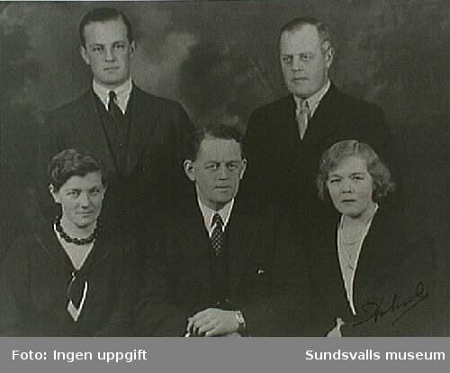 Barn till grosshandlare G P och Anna Braathen, Hofvid. Övre raden fr v: Gustav (f. 1903) och Ejnar Braathen (f. 1892). Nedre raden fr v: Maja Braathen, gift Johansson (f. 1896). Otto Braathen (f. 1890) och Kerstin Braathen, gift Modin (f. 1888).