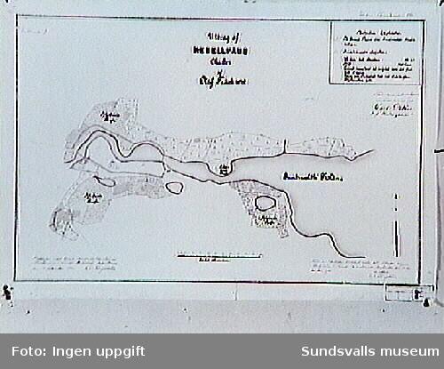 Karta över Sundsvall 1642, Ritad av Oluf Träsk. Kopierad 1901.