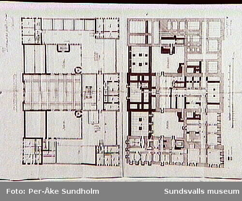 Ritningar från ombyggnaden 1889 utförda av Andreas Bugge. Sidofasad. Stadshuset 1, Sundsvall stad.