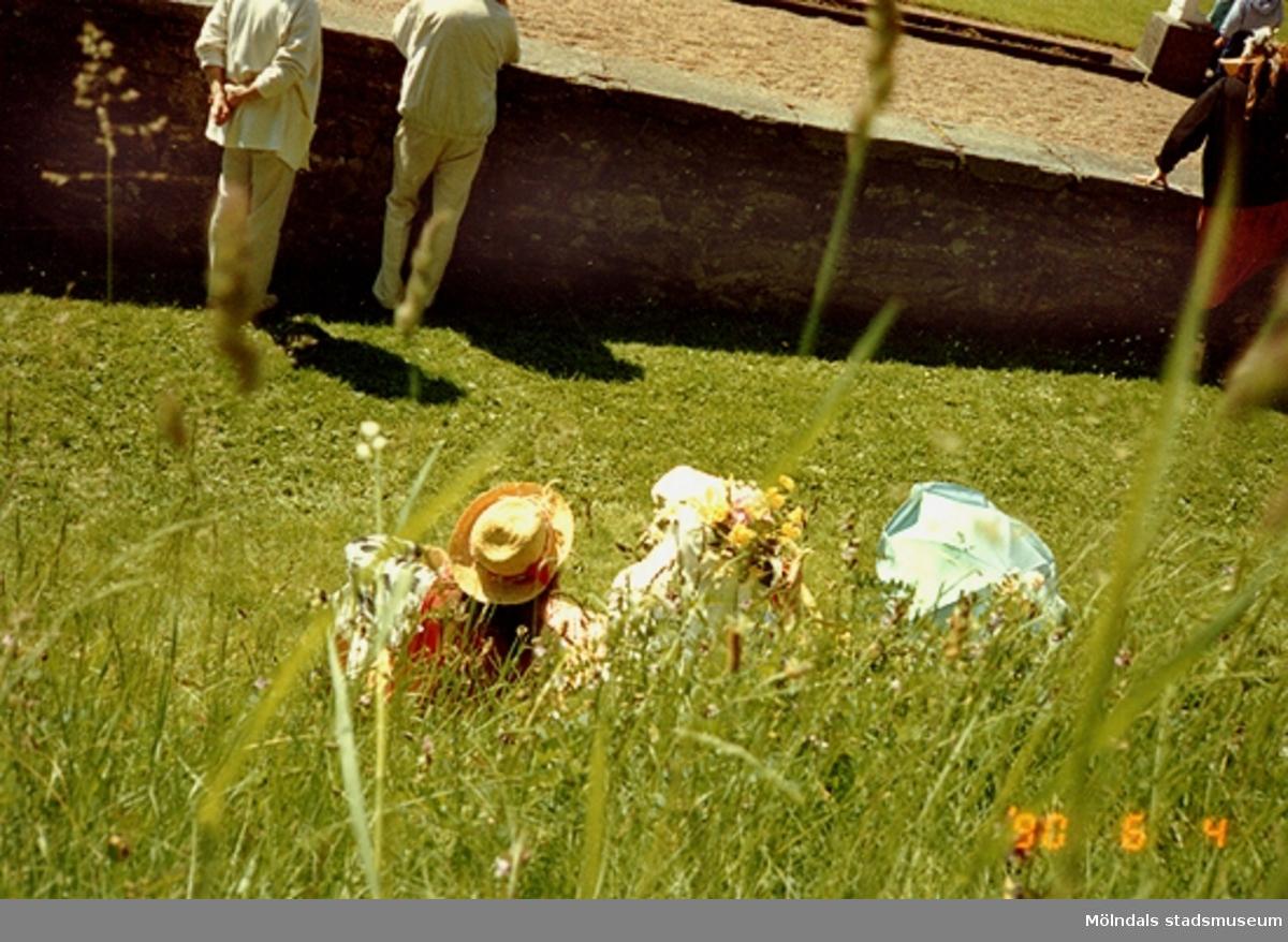Personer fotograferade bakifrån. Gunnebo slott, juni 1990.