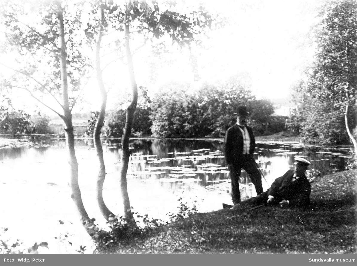 Sidsjödammen i Sundsvall. fr v  E. Eriksson,  C.R. Carlsson.