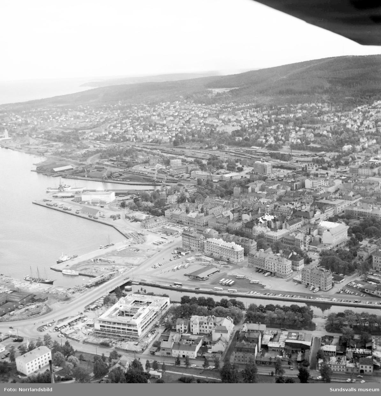 Flygbilder över Sundsvall, Norrmalm och Norra berget.