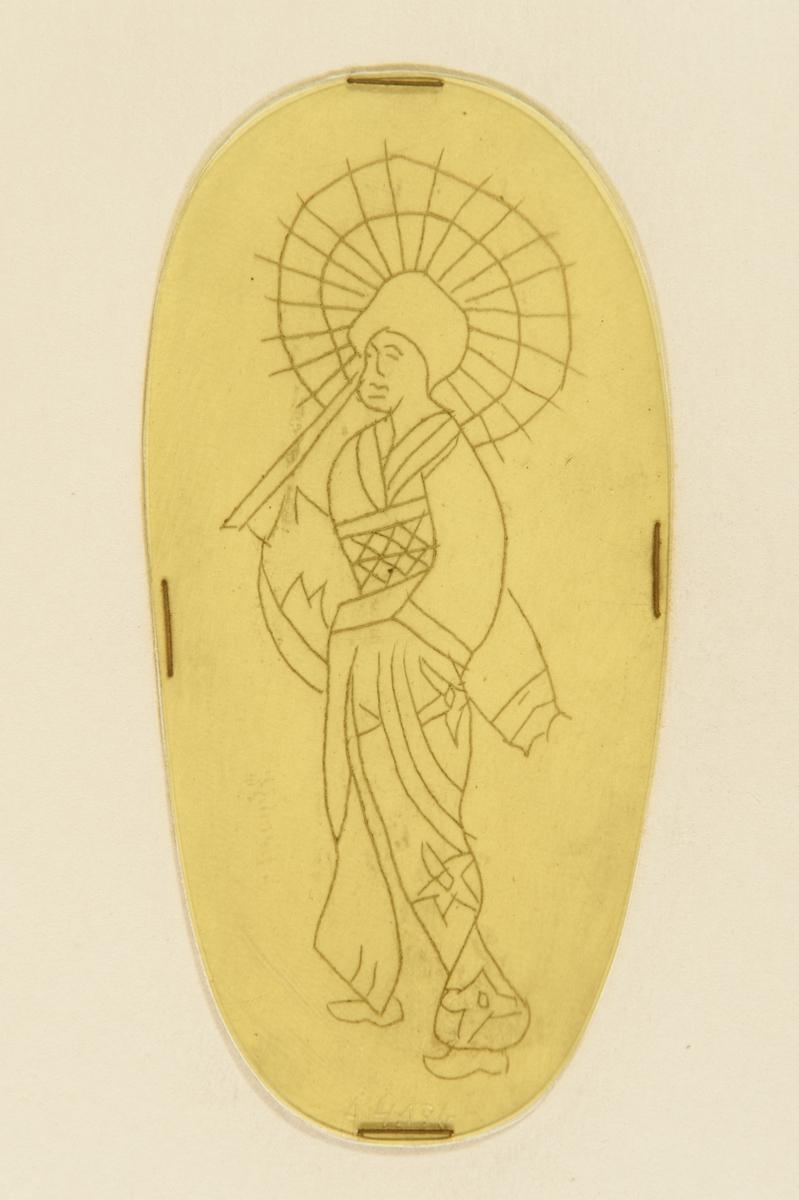 Tatueringsförlaga. En geisha med ett öppet parasoll över axeln.