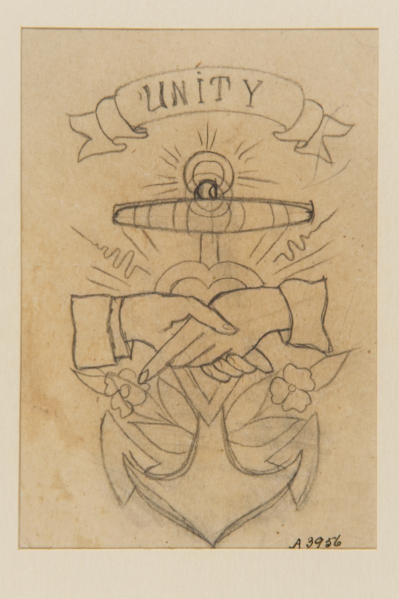 """Tatueringsförlaga. Två händer hållande i varandra. I bakgrunden ett hjärta framför ett ankare dekorerart med blommor. Överst en banderoll med texten """"UNITY""""."""