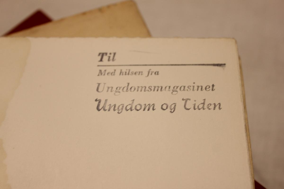 """A,B,C,D,E og F. Tittel: """"KASTESKOLEN"""". Trykket på """"Gry- forlag"""" i Oslo i 1946."""