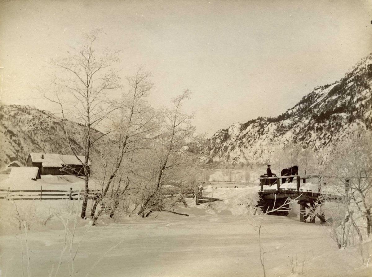 Bru bekk tre hus snø vinter fjell