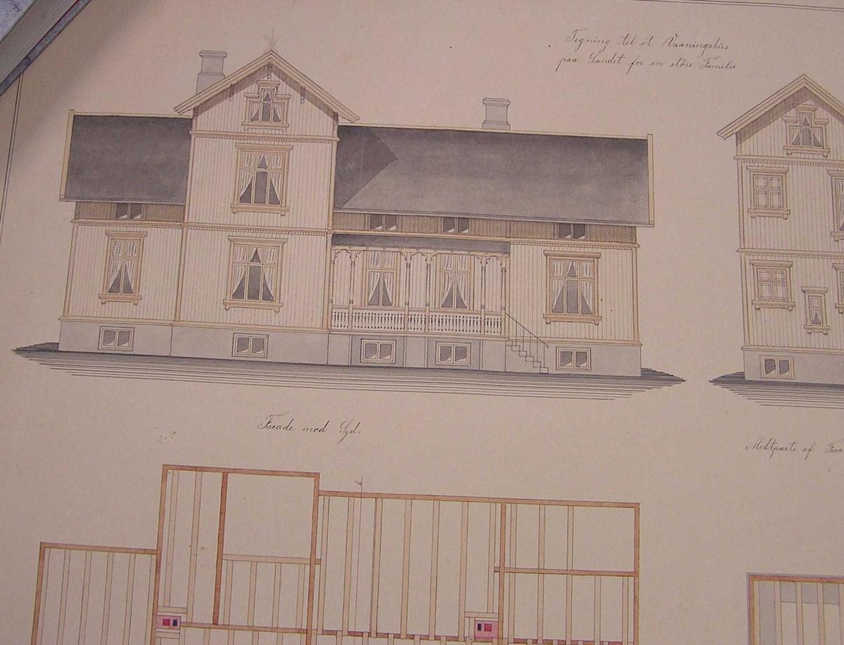 Fasade og snitttegning av hus