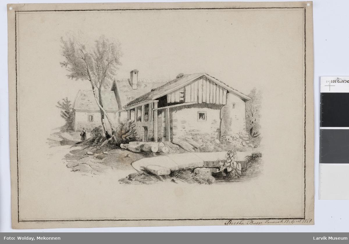 a)bryggerhus e.l. m. katt og burfugl b)c)d)gotisk ruin e)forfallent hus ...felt18: b)c d e) ...felt19: d) e)