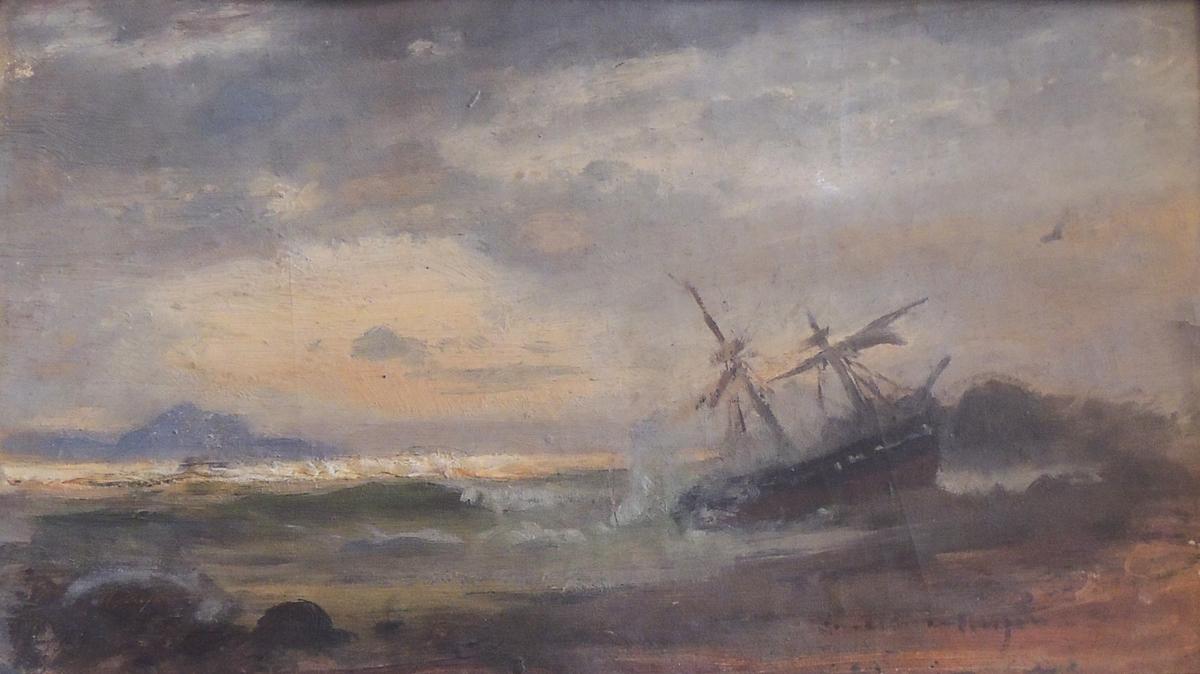 Strandet seilbåt.