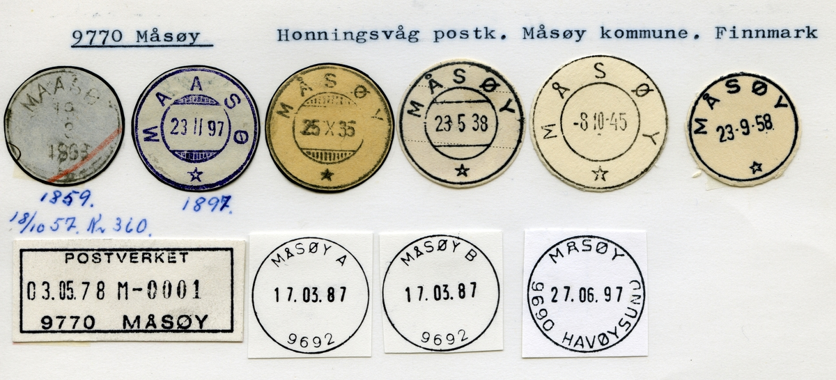 Stempelkatalog  9770 Måsøy, Måsøy kommune, Finnmark