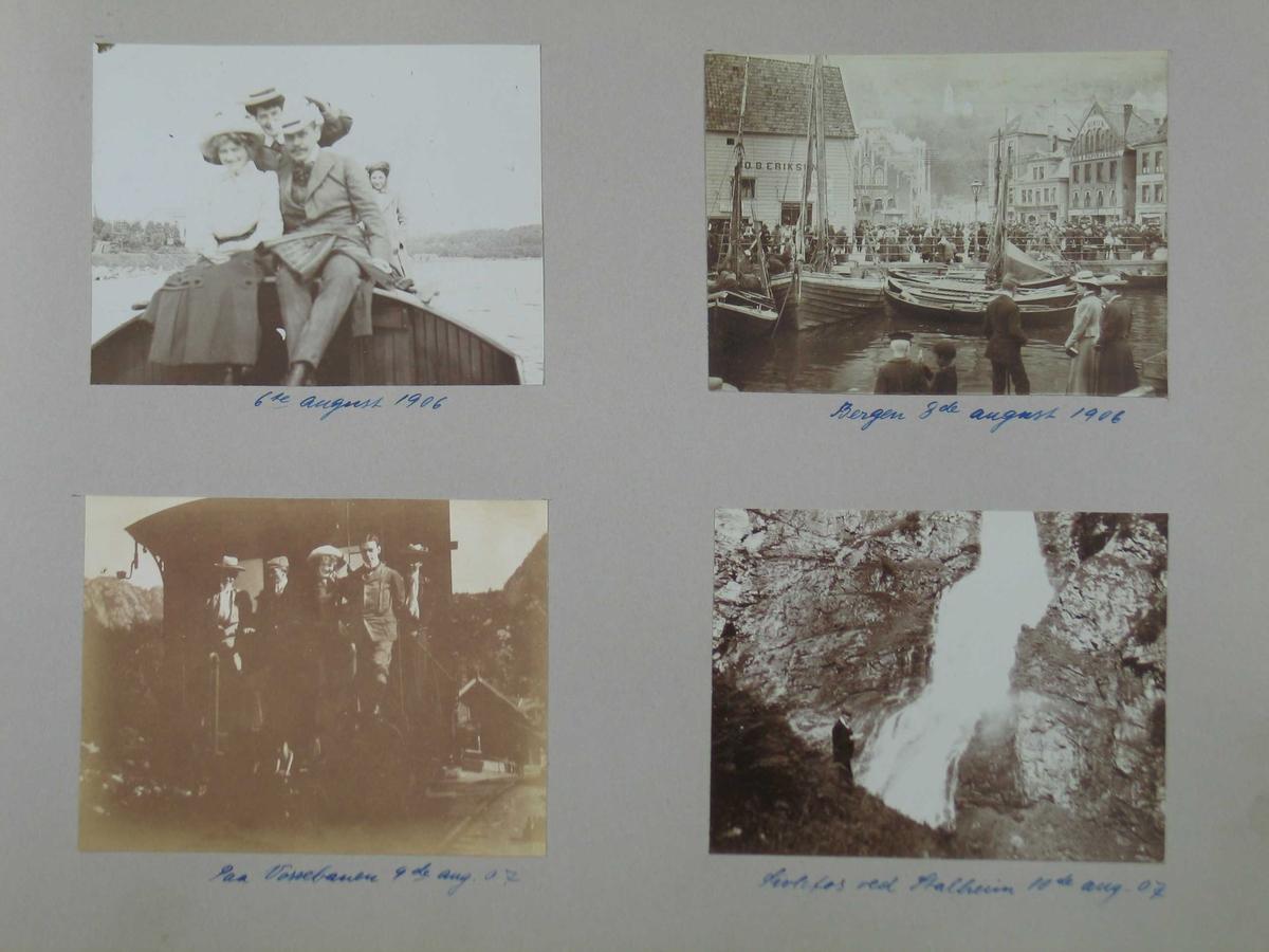 Fotoalbum med amatørbilder. Noen få med tekst og datering. Omslaget har jugendstil.
