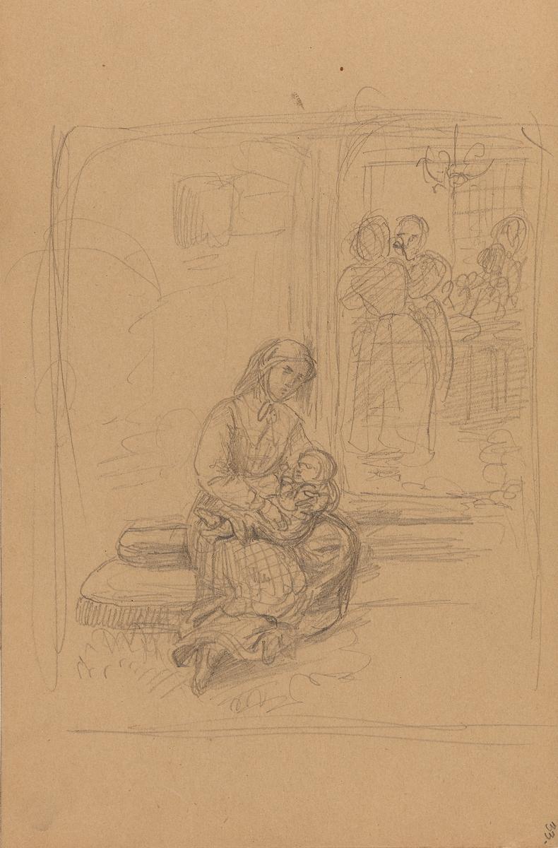 Mor med barn på fanget [Tegning]