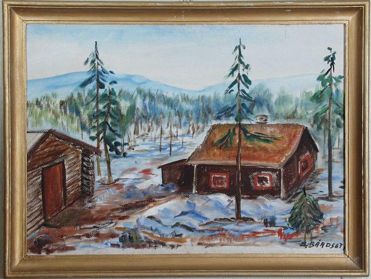 Maleri av hytte i fjellet, olje på lerret.