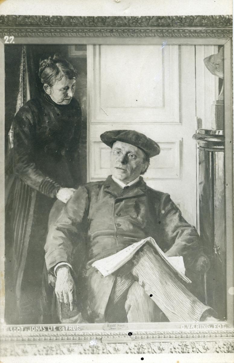 Postkort, Jonas og Thomasine Lie, repro, maleri,