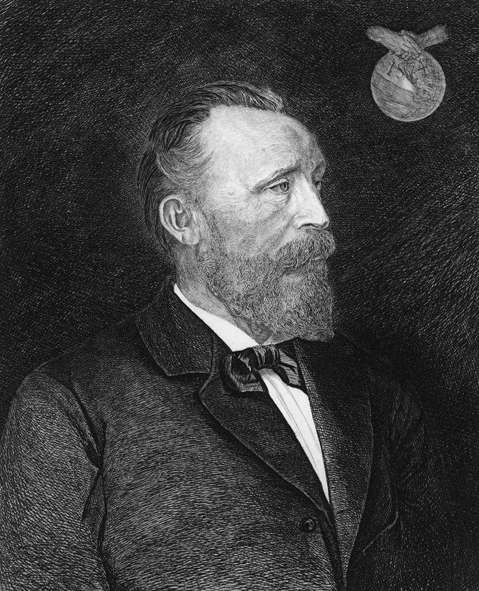 tegning, portrett, mann, riksgeneralpostdirektør Heinrich von Stephan