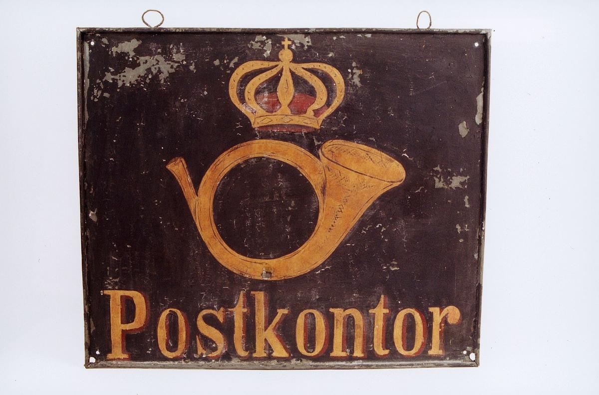 postmuseet, gjenstander, skilt, postskilt, opplysningsskilt, Postkontor med posthorn og krone