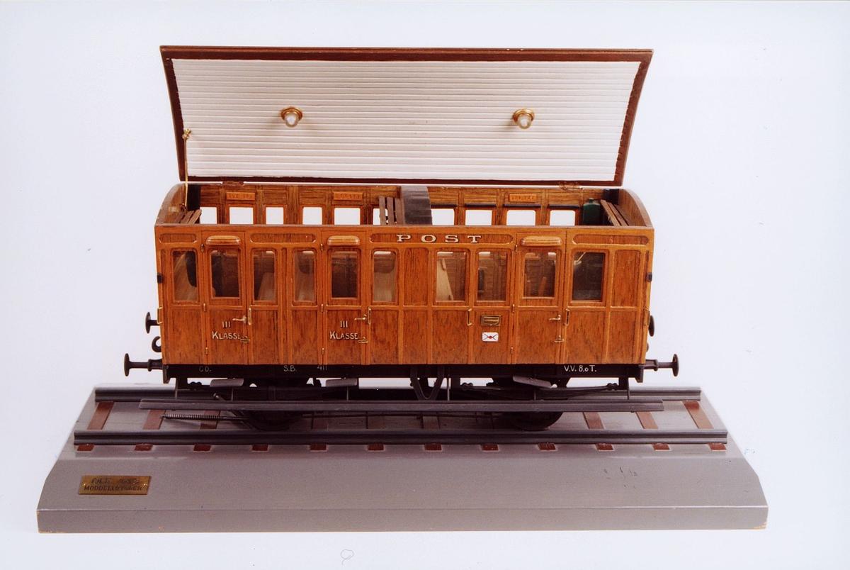 postmuseet, gjenstander, tog, jernbanevogn, jernbanevognmodell, postvogn, Østfoldbanen