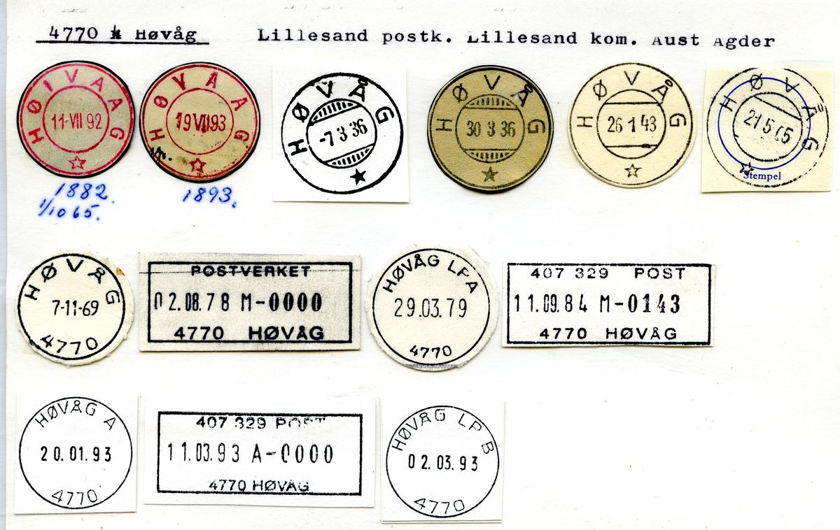 Stempelkatalog, Høivaag, Høvaag, 4770 Høvåg, Lillesand postkontor, Lillesand kommune, Aust-Agder fylke.