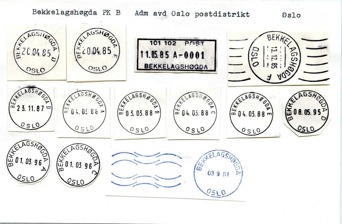 Stempelkatalog Bekkelagshøgda, Adm avd Oslo, Oslo
