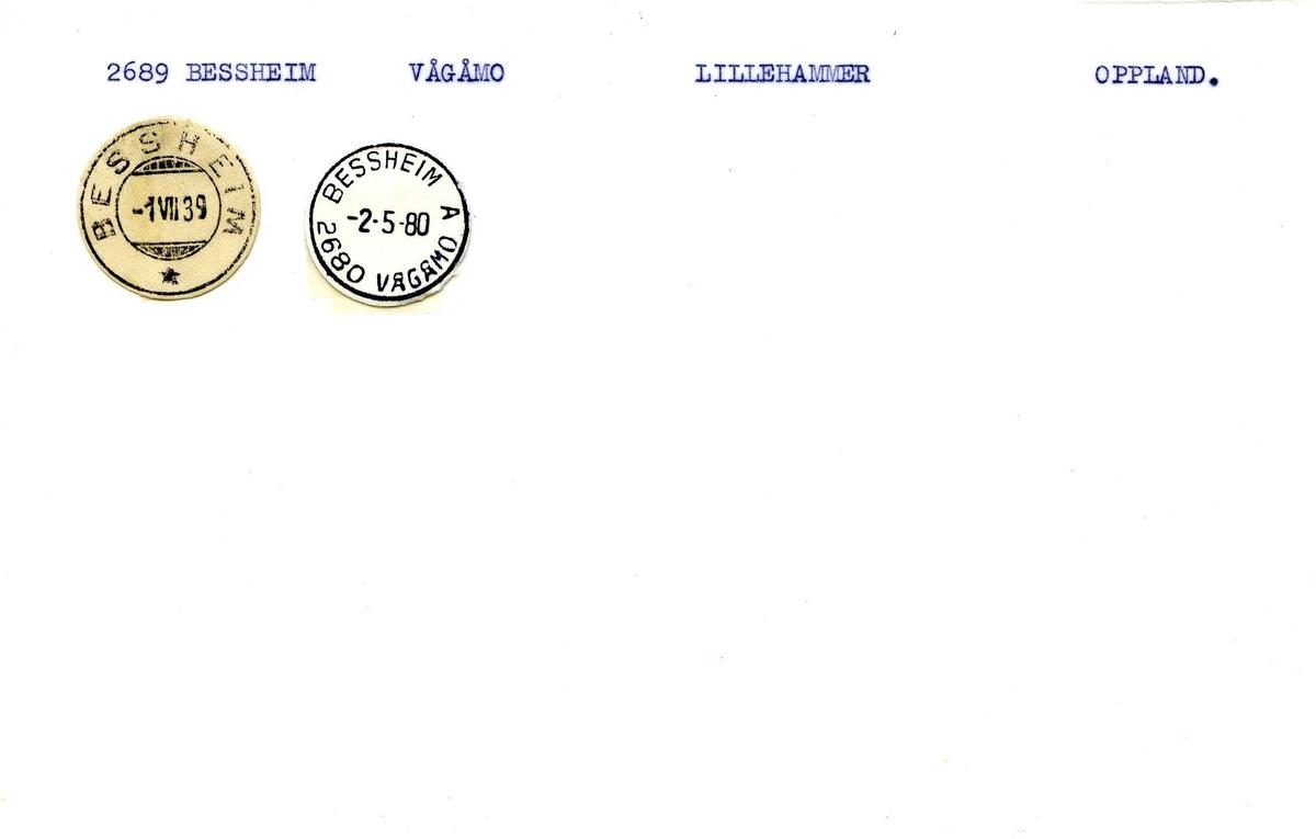 Stempelkatalog,2689 Bessheim, Lillehammer postkontor, Vågå kommune, Oppland fylke.