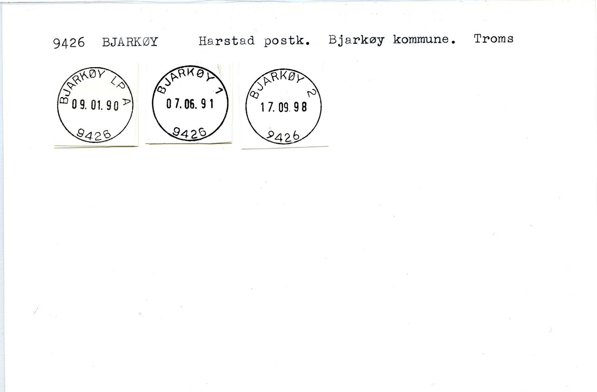 Stempelkatalog, 9426 Bjarkøy, Harstad postkontor, Bjarkøy kommune, Troms fylke.