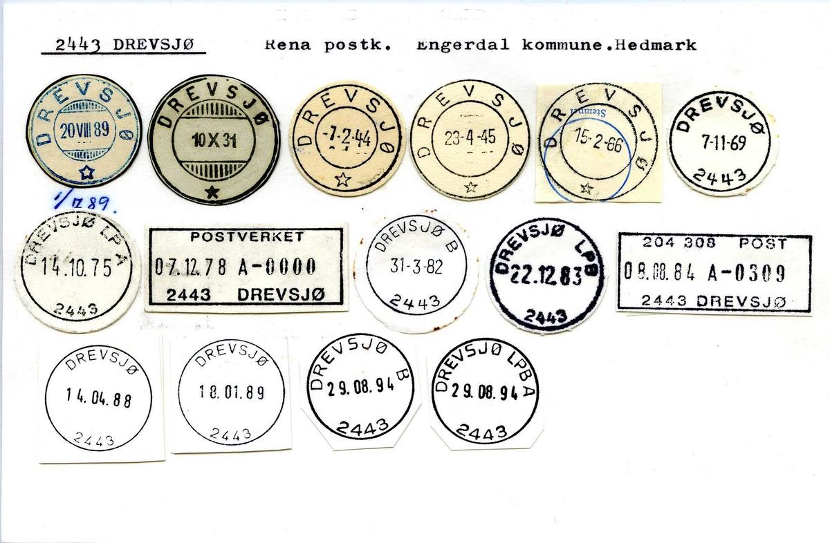 Stempelkatalog, 2443 Drevsjø. Rena postkontor. Engerdal kommune. Hedmark fylke.