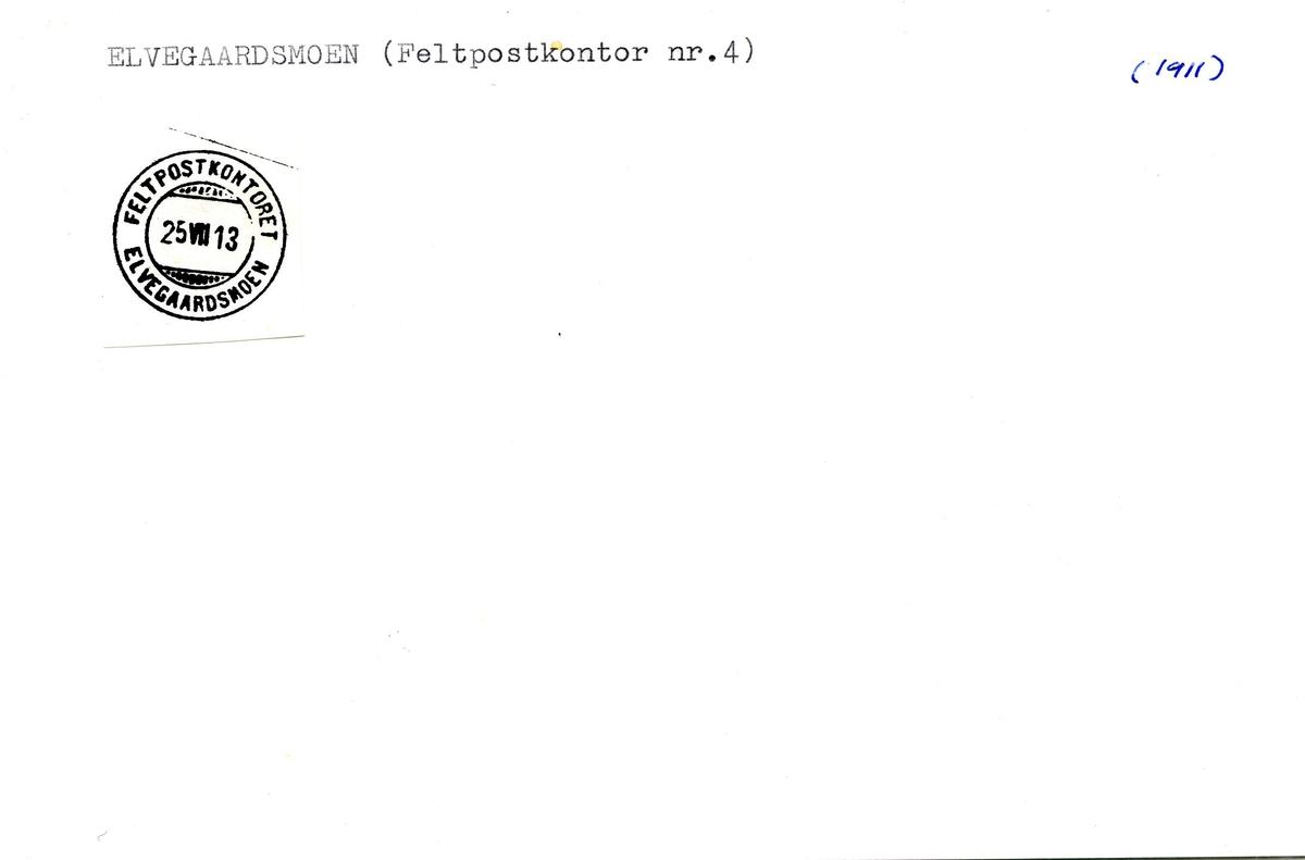 Stempelkatalog, Elvegaardsmoen feltpostkontor, Ankenes, Nordland
