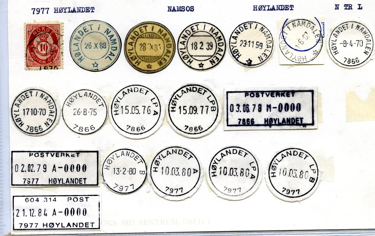 Stempelkatalog. 7977 Høylandet. Namsos postkontor. Høylandet kommune. Nord-Trøndelag fylke.