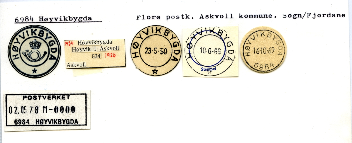 Stempelkatalog. 6984 Høyvikbygda. Florø postkontor. Askvoll kommune. Sogn og Fjordane fylke.