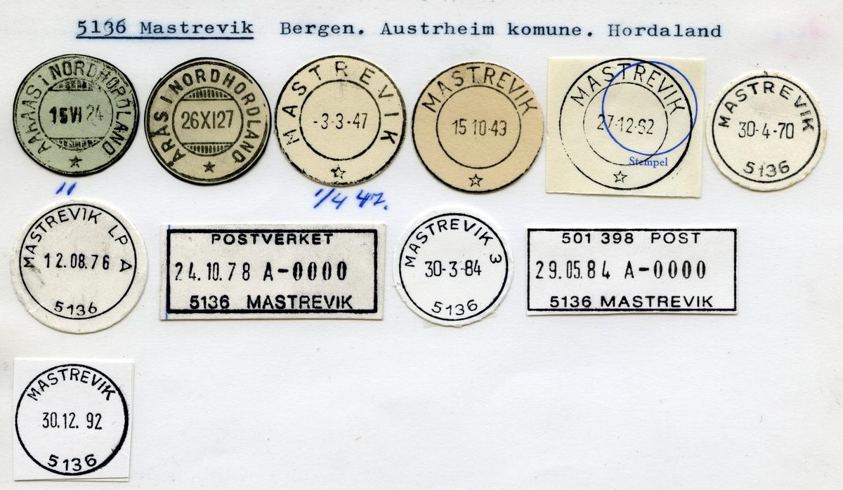 Stempelkatalog  5136 Mastrevik, Austrheim kommune, Hordaland (Åros i Nord-Hordaland)
