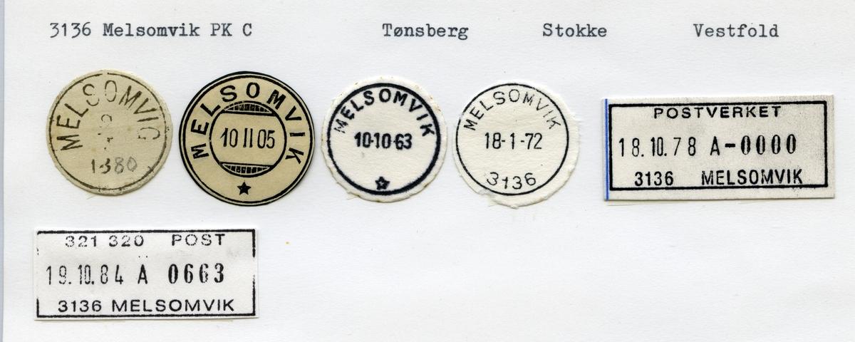Stempelkatalog  3136 Melsomvik, Stokke kommune, Vestfold