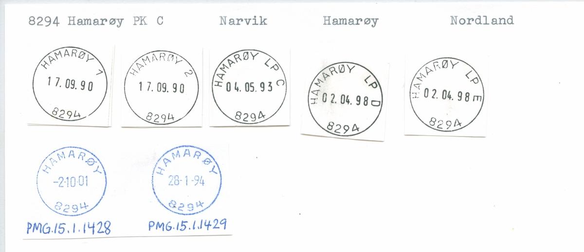 Stempelkatalog. 8294 Hamarøy, Narvik, Hamarøy, Nordland
