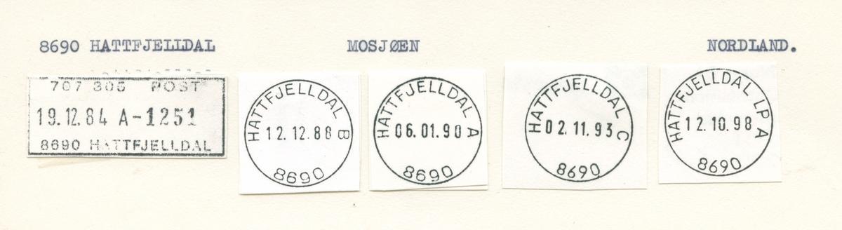 Stempelkatalog 8690 Hattfjelldal. Mosjøen postkontor. Hattfjelldal kommune. Nordland fylke.