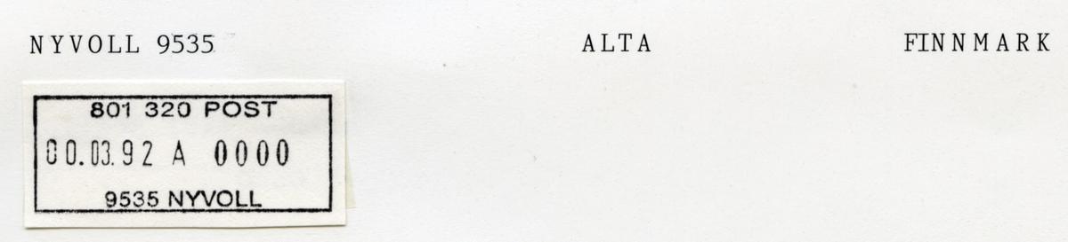 Stempelkatalog. 9535 Nyvoll i Altafjord. Hammerfest postkontor. Alta kommune. Finnmark fylke.