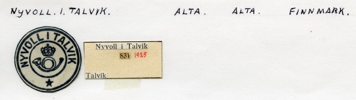 Stempelkatalog. Nyvoll i Talvik, Alta, Alrta kommune, Finnmark