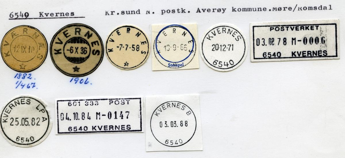 Stempelkatalog 6540 Kvernes (Kværnes), Krisrtiansund, Averøy, Møre og Romsdal
