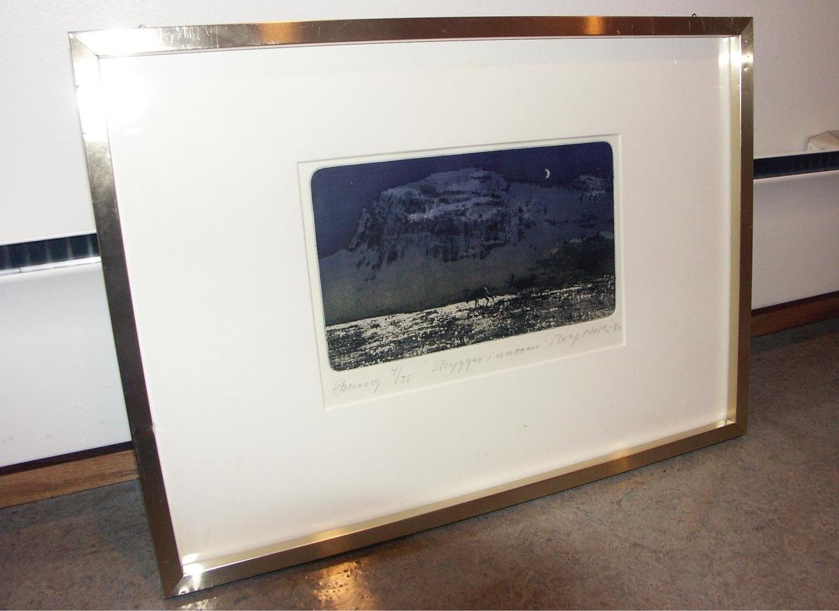 Innkjøpt fra Norske grafikere i 1981. Trykket er nummerert 4/35.Oppgitt mål er med ramme. Lysmål er 15 x 25 cm.