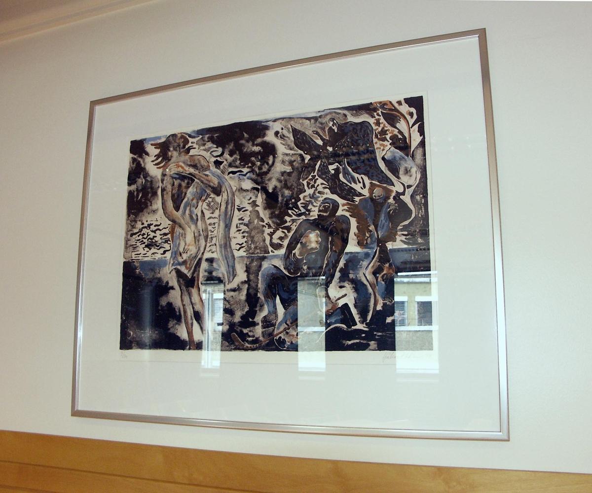 Verket inngår i en utsmykking som omfatter et maleri og fem grafiske arbeider.