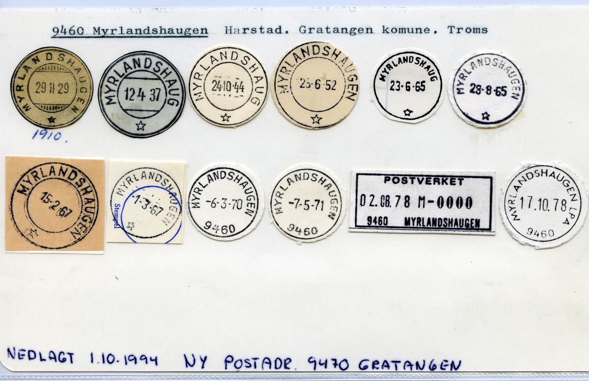 Stempelkatalog  9460 Myrlandshaugen, Gratangen kommune, Troms (Fra 1.10.1994 9470 Gratangen)