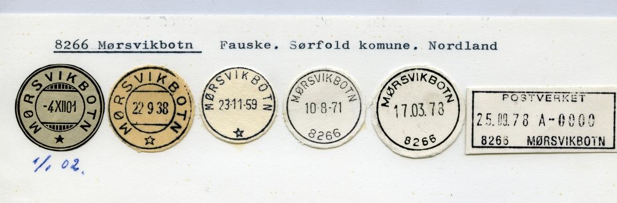 Stempelkatalog  8266 Mørsvikbotn, Sørfold kommune, Nordland