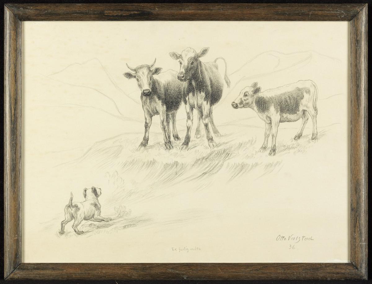 2 kuer og kalv, i forgr. gjøende hund, fjell.