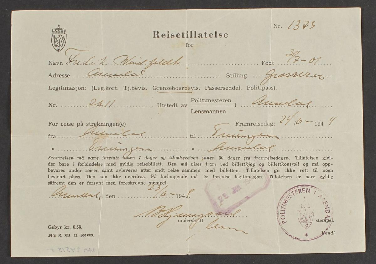 Reisetillatelse for F. Windfelt , fra Arendal til Treungen , 24/3 1945.