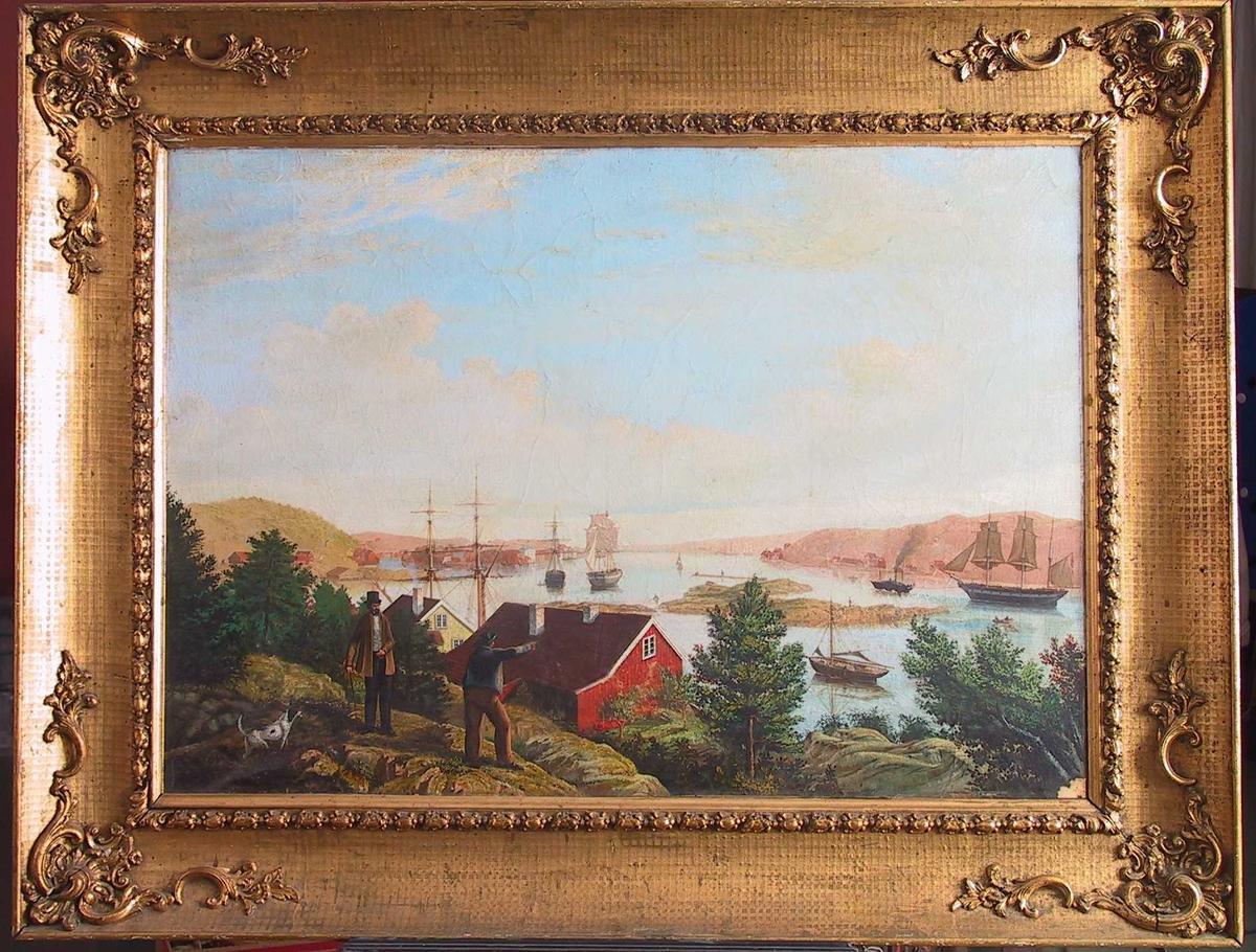 Utsikt mot øst over Byfjorden i Arendal, Hisøy t. h. Arendal med Tyholmen, Tromøysund, Tromøy, i bakgrunnen. I forgr. knauser m. småtrær, hvor en almuesmann peker ut mot et seilskip som bukseres m. damp-sleperbåt ut Strømmen og forbi Terneholmen, mens en herre med spaserstokk, flosshatt og lysebrun jakke - en pointer ved siden, kommer gående. Et rødt og et gult hus nede ved vannet, riggen av en skute rager opp bak dem. Skip på fjorden, lav horisont, høy himmel m. drivende skyer. Bildet er malt fra Hansnes. Herren kan muligens være en av Stephansens. Oppr. eier ukjent.