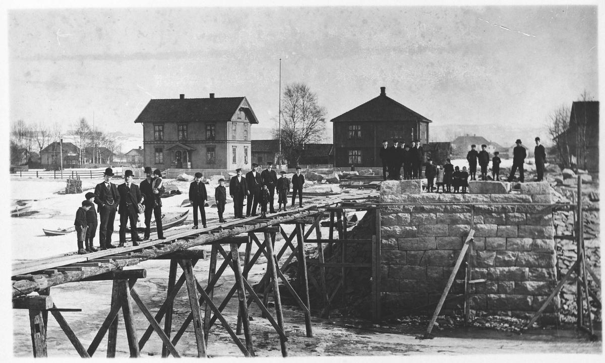 Nybroen over Nitelven under bygging, ca. 1910 - 1911.