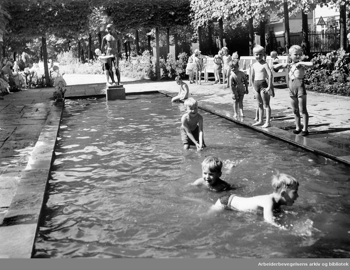 Badeliv på Gråbeinsletta, .juli 1952
