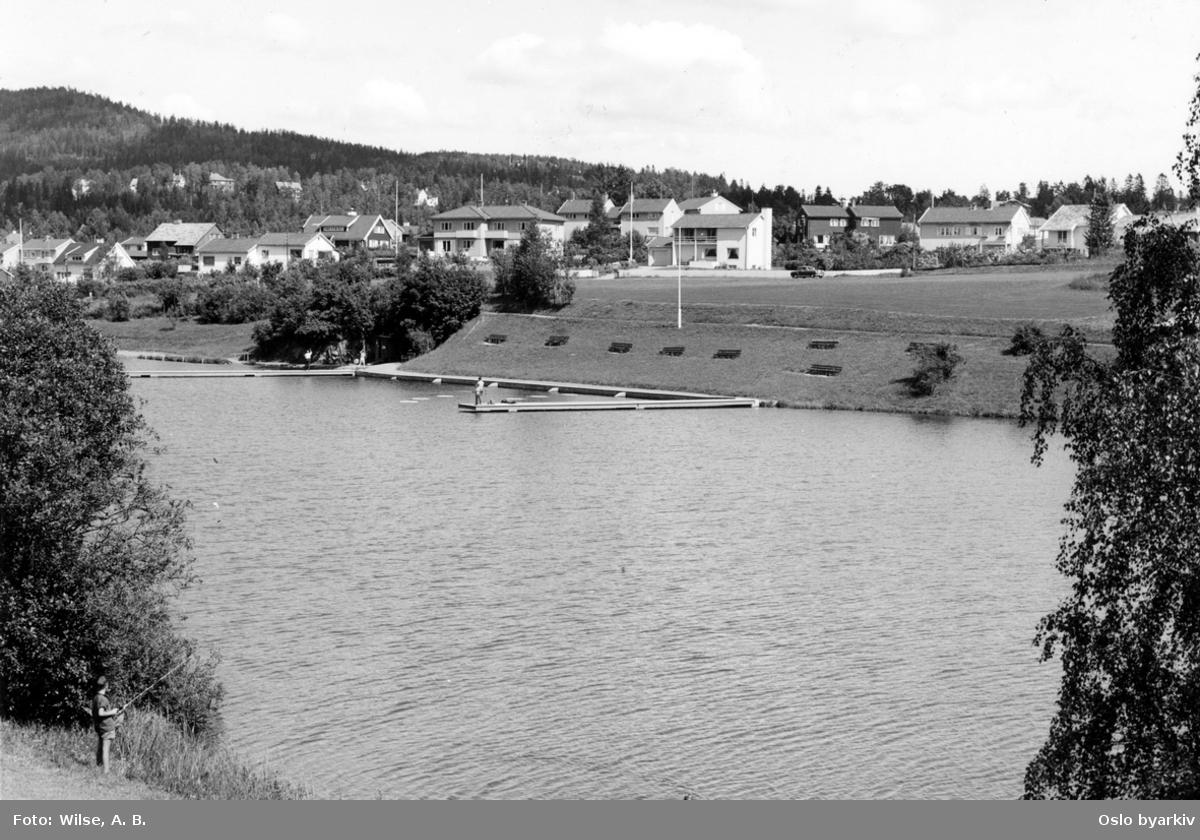 Østre Holmen, Holmendammen, flytebrygger, fiskere, friområde, villabebyggelse, Marka bak.