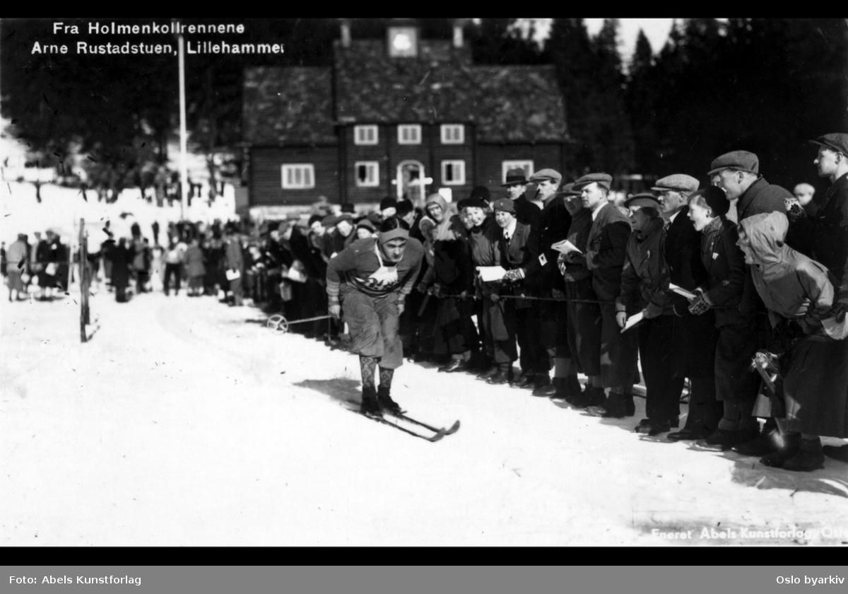 Skiløper, publikum langs løypa, Holmenkollrennene, Skistua, vinter