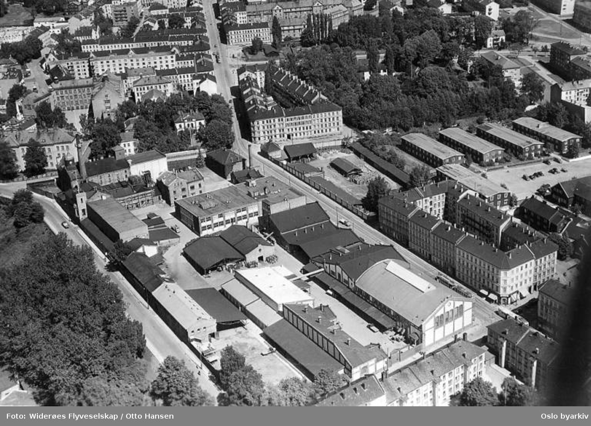 Ringnes Bryggeri, Thorvald Meyers gate 7, Toftes gate, Vogts gate (Flyfoto)