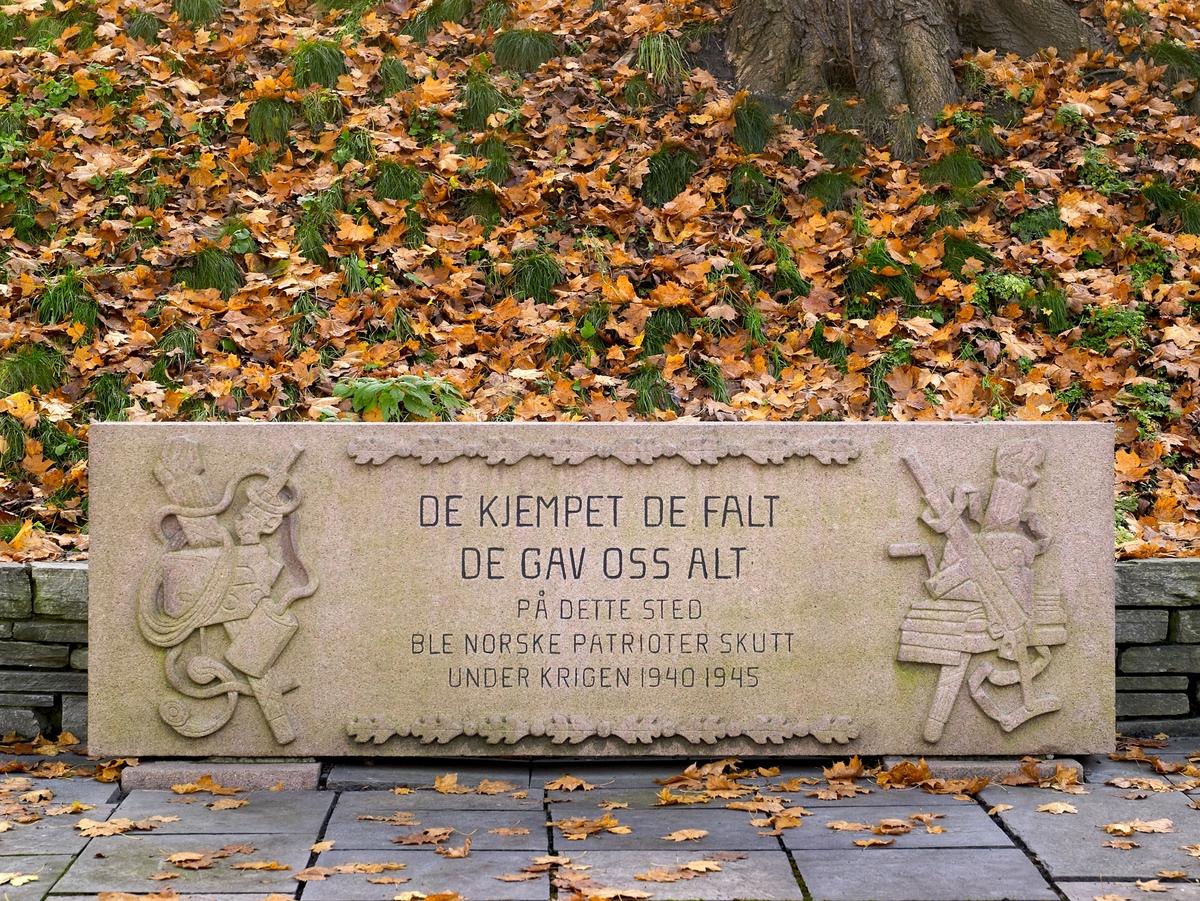 Krigsminnesmerke. Relieffsmykket minnestøtte flankert med 2 kors . Relieff på støtten viser militære symboler som pistol, sverd, etc. Dessuten eikeløvsbord over og under inskripsjoner. Granitt, rødlig. Høyde 0,84 m, bredde 2,6 m.