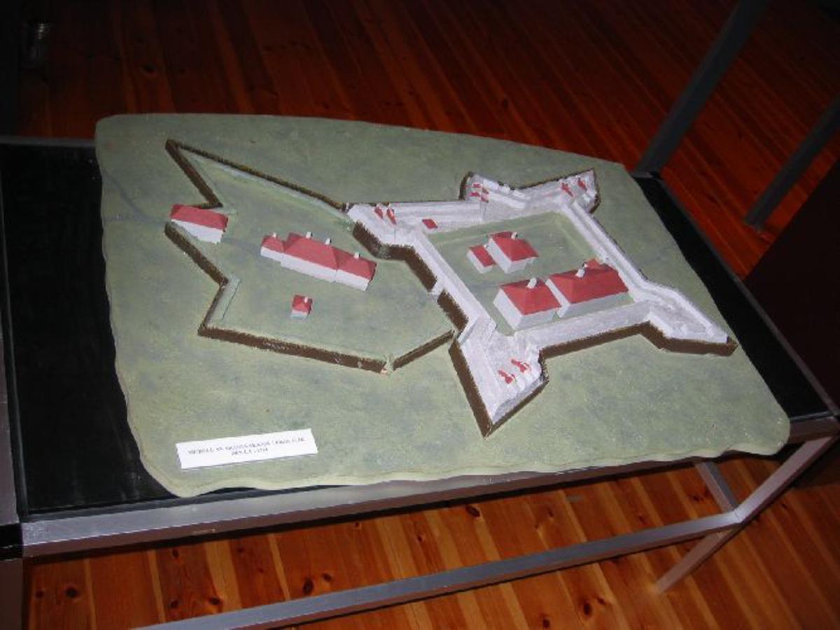 En modell av Skånes skanse laget av Henry Nymoen etter samtidige tegninger og kart.
